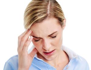 Young businesswoman has splitting headache pain migraine